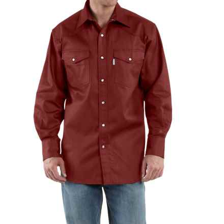 Carhartt Snap-Front Twill Work Shirt - Long Sleeve (For Tall Men) in Fired Brick - 2nds