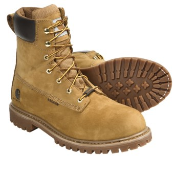 "Carhartt Soft Toe Work Boots - 8"", Waterproof, Insulated, Nubuck (For Men) in Wheat"