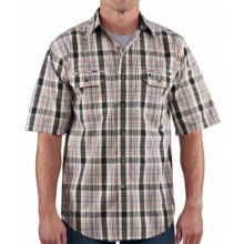 Carhartt Standish Plaid Shirt - Ripstop Cotton, Short Sleeve (For Men) in Asphalt - 2nds