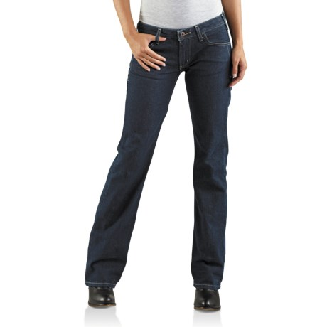 Carhartt Straight Fit Basic Jeans - Bootcut (For Women) in Faded Blue Indigo