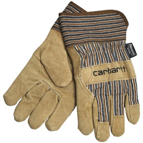 Carhartt Suede Work Gloves with Safety Cuffs - Insulated (For Men) in Brown