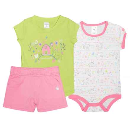 Carhartt T-Shirt, Baby Bodysuit and Shorts Set - Short Sleeve (For Infant Girls) in Medium Pink - Closeouts