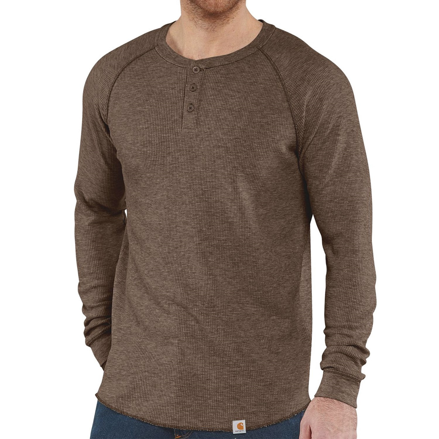 Carhartt thermal knit henley shirt lightweight long for Men s thermal henley long sleeve shirts