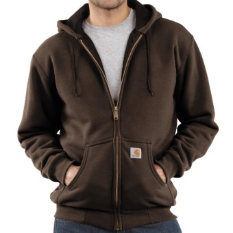 Carhartt Thermal-Lined Hooded Sweatshirt (For Men) in Dark Brown