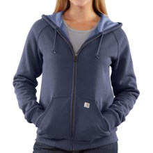 Carhartt Thermal Lined Hoodie Sweatshirt - Full Zip (For Women) in Navy Heather - 2nds