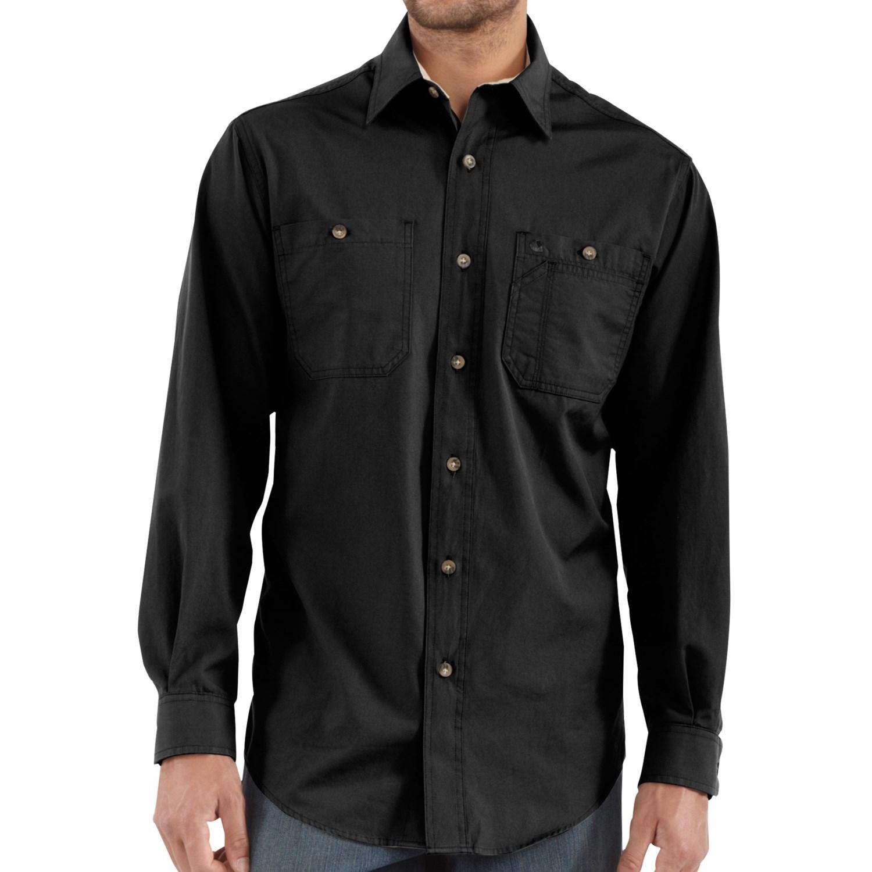 Carhartt tradesman canvas work shirt 4 8 oz long for Black long sleeve work shirt