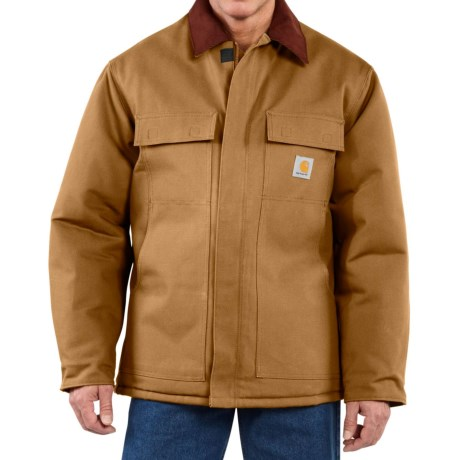 Carhartt Traditional Duck Work Coat - Insulated, Arctic Quilt Lining (For Big Men) in Carhartt Brown