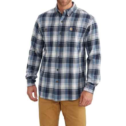 Carhartt Trumbull Plaid Flannel Shirt - Long Sleeve (For Big and Tall Men) in Steel Blue - Closeouts