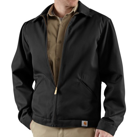 Carhartt Twill Midweight Work Jacket - Insulated, Quilt Lined (For Tall Men) in Black