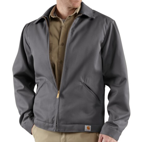 Carhartt Twill Midweight Work Jacket - Insulated, Quilt Lined (For Tall Men) in Dark Grey
