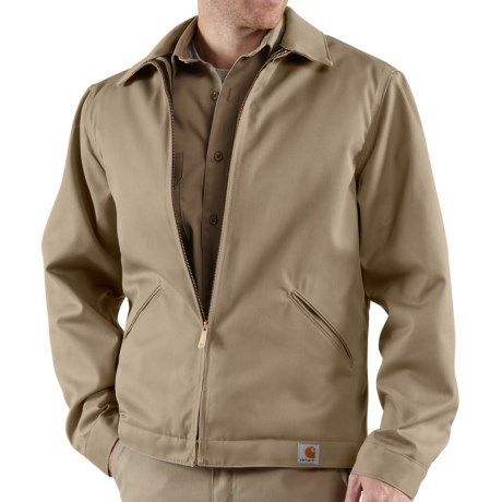Carhartt Twill Midweight Work Jacket - Insulated, Quilt Lined (For Tall Men) in Khaki
