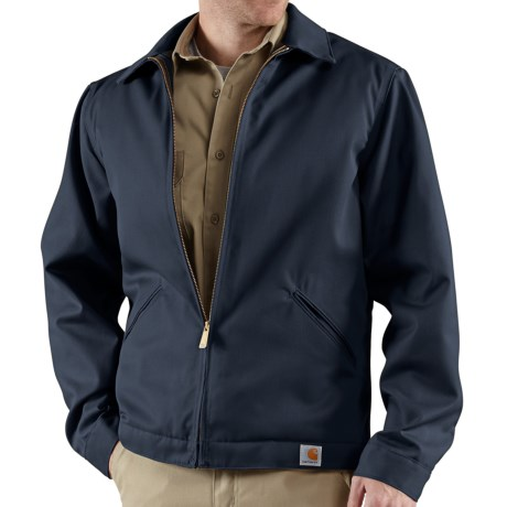 Carhartt Twill Midweight Work Jacket - Insulated, Quilt Lined (For Tall Men) in Navy