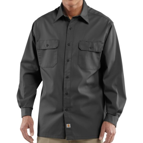 Carhartt Twill Work Shirt - Long Sleeve (For Tall Men) in Dark Grey