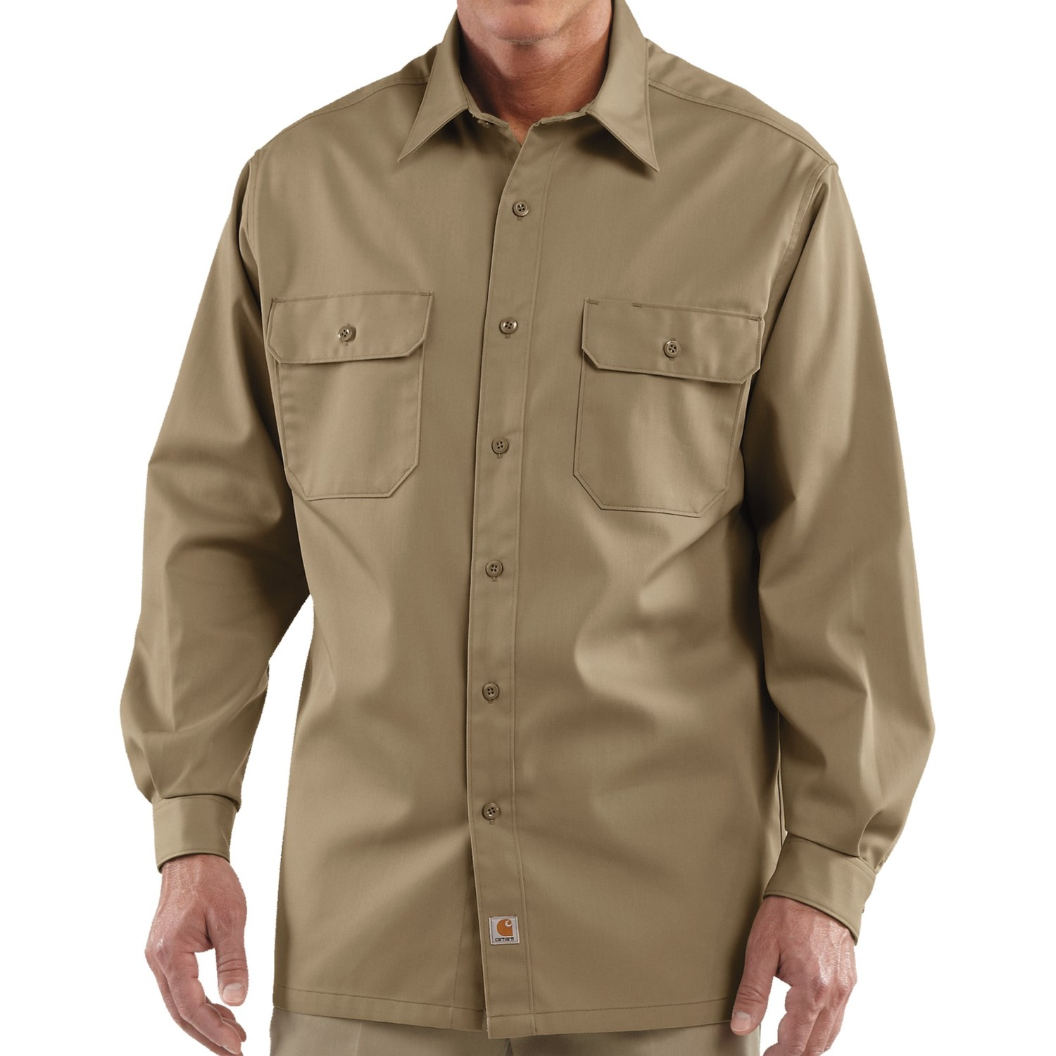 Carhartt twill work shirt long sleeve for tall men in for Tall mens work shirts