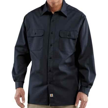 Carhartt Twill Work Shirt - Long Sleeve (For Tall Men) in Navy - 2nds