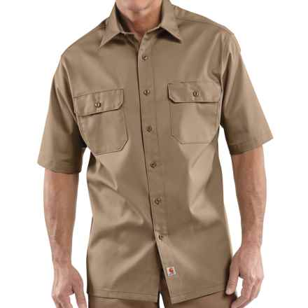 Carhartt Twill Work Shirt - Short Sleeve, Factory Seconds (For Men) in Khaki - 2nds