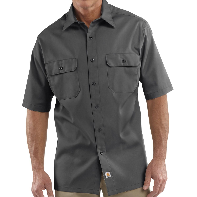 Carhartt twill work shirt short sleeve for tall men for Tall mens work shirts