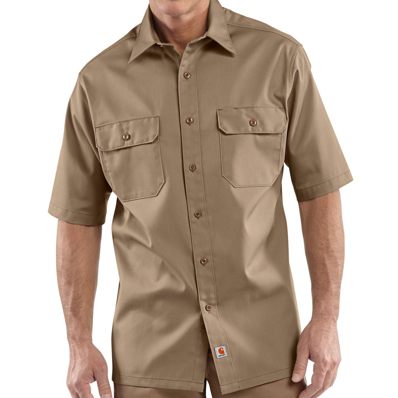 Carhartt twill work shirt short sleeve for tall men in for Tall mens work shirts