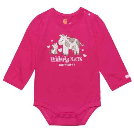 Carhartt Udderly Cute Baby Bodysuit - Long Sleeve (For Infant Girls) in Pink Peacock - Closeouts