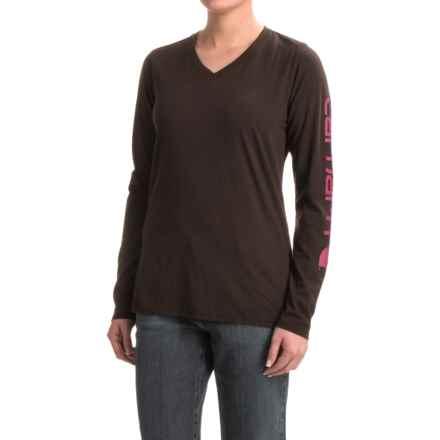 Carhartt V-Neck Logo T-Shirt - Long Sleeve, Factory Seconds (For Women) in Dark Brown - 2nds