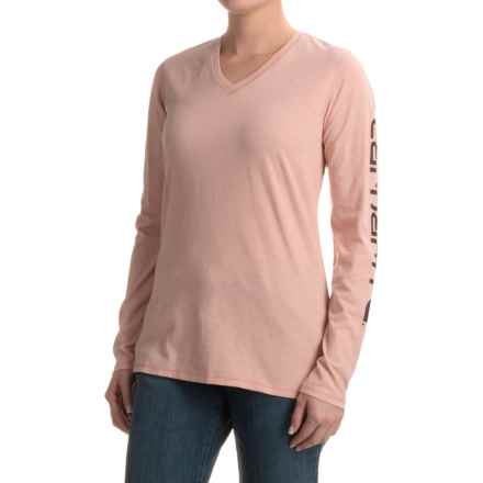 Carhartt V-Neck Logo T-Shirt - Long Sleeve, Factory Seconds (For Women) in Misty Rose - 2nds