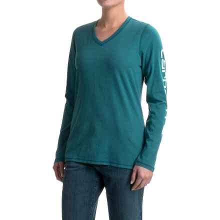 Carhartt V-Neck Logo T-Shirt - Long Sleeve, Factory Seconds (For Women) in Teal Blue - 2nds