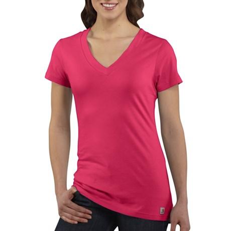 Carhartt V-Neck T-Shirt - Short Sleeve (For Women) in Blossom