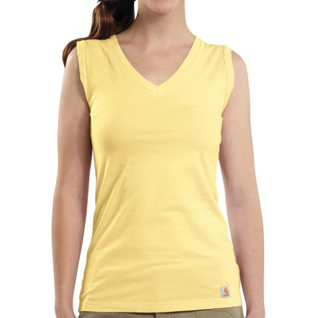 Carhartt V-Neck Tank Top (For Women) in Pale Yellow