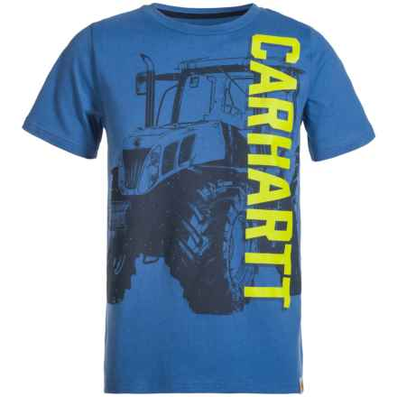 Carhartt Vertical Tractor T-Shirt - Short Sleeve (For Big Boys) in Medium Blue - Closeouts