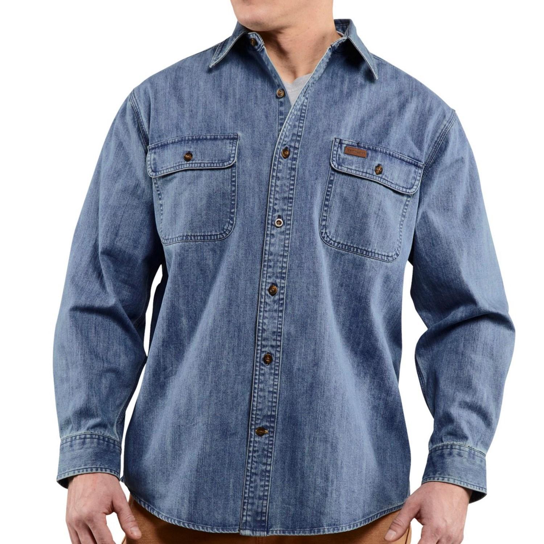 Carhartt Washed Denim Work Shirt For Big Men