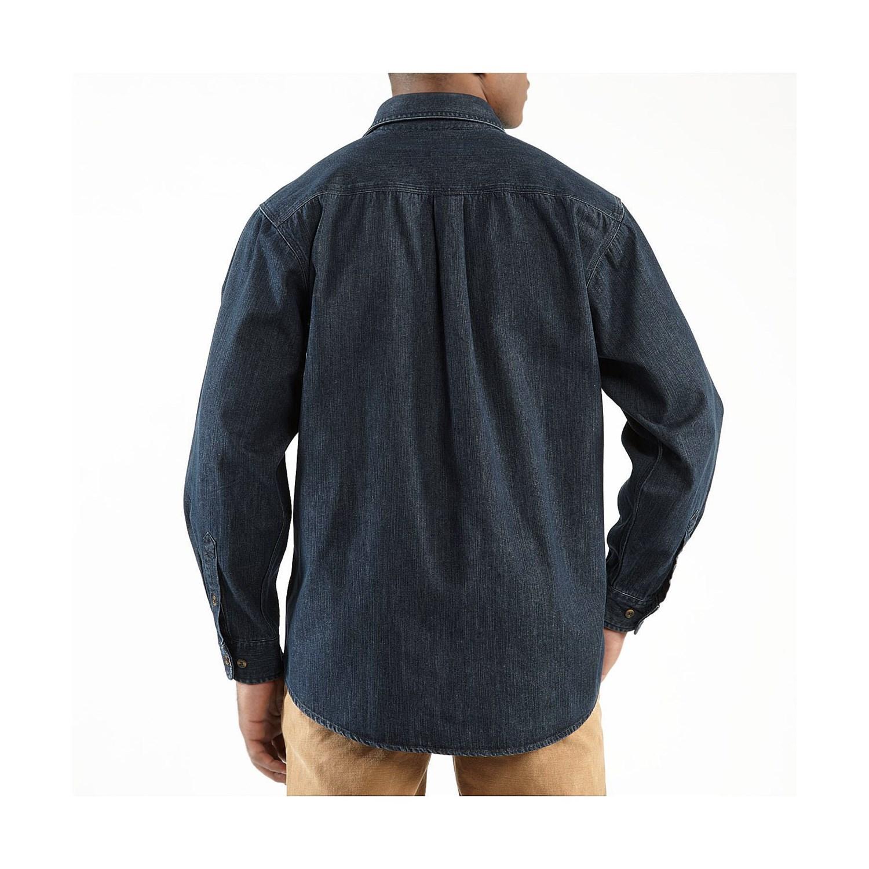 Carhartt washed denim work shirt for big men 7976n for Mens denim work shirt