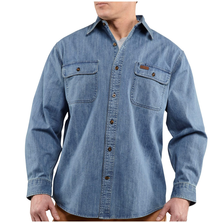 Carhartt washed denim work shirt long sleeve for tall men for Tall mens work shirts