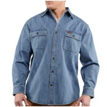 Carhartt Washed Denim Work Shirt - Long Sleeve (For Tall Men) in Rinsed Light Blue - 2nds
