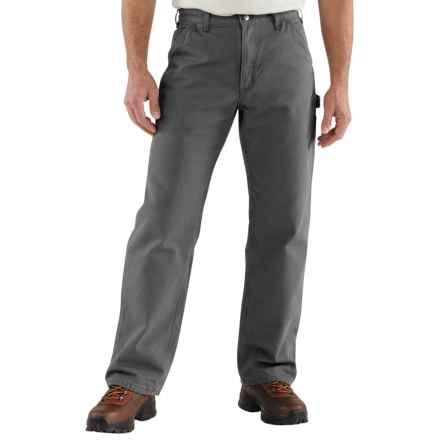 Carhartt Washed Duck Dungarees - Flannel-Lined (For Men) in Gravel - 2nds