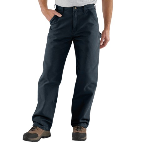 Carhartt Washed Duck Work Pants - Factory Seconds (For Big and Tall Men) in Midnight