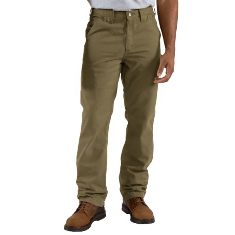 Carhartt Washed-Twill Dungarees - Flannel-Lined (For Men) in Army Green