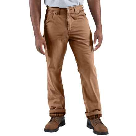 Carhartt Washed-Twill Dungarees - Flannel-Lined (For Men) in Dark Khaki - 2nds