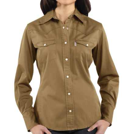 Carhartt Washed Twill Shirt - Snap Front, Long Sleeve (For Women) in Dark Khaki - 2nds