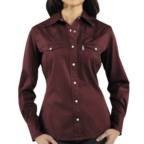 Carhartt Washed Twill Shirt - Snap Front, Long Sleeve (For Women) in Port