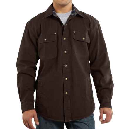 Carhartt Weathered Canvas Shirt Jacket - Factory Seconds (For Big Men) in Dark Brown - 2nds