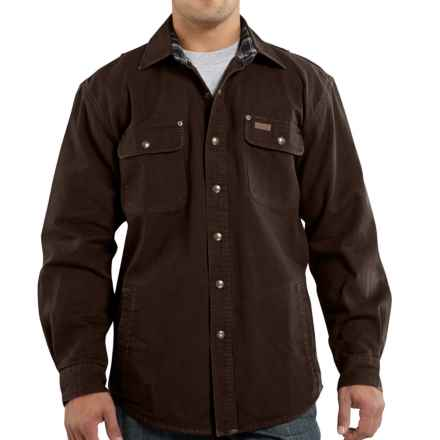 Carhartt Weathered Canvas Shirt Jacket (For Tall Men) in Dark Brown - 2nds