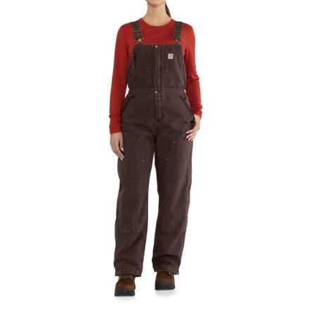 Carhartt Weathered Duck Wildwood Bib Overalls - Insulated, Factory 2nds (For Women) in Dark Brown - 2nds