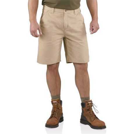 Carhartt Weathered Duck Work Shorts (For Men) in Field Khaki