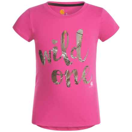 Carhartt Wild One T-Shirt - Short Sleeve (For Little Girls) in Raspberry - Closeouts