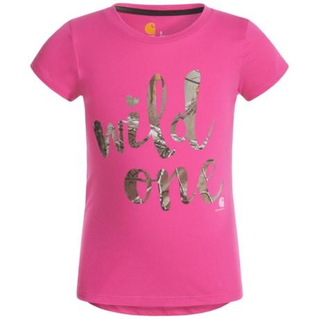 Carhartt Wild One T-Shirt - Short Sleeve (For Little Girls) in Raspberry