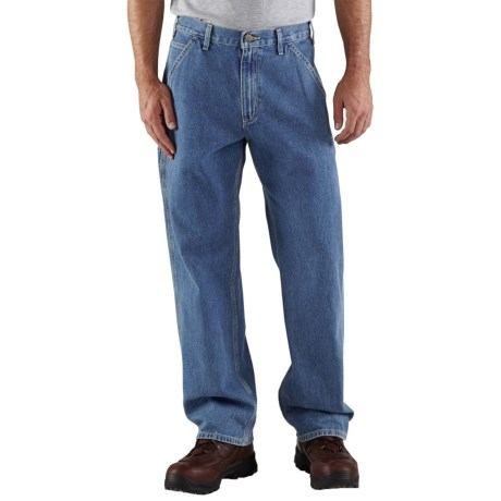 Carhartt Work Pants - Washed Denim (For Men) in Stone Wash