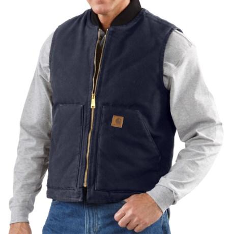 Carhartt Work Vest - Sandstone Duck (For Tall Men) in Dark Brown
