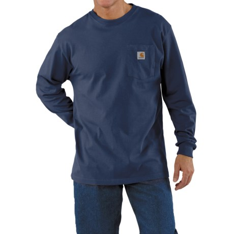Carhartt Work Wear T-Shirt - Long Sleeve (For Men) in Dark Blue