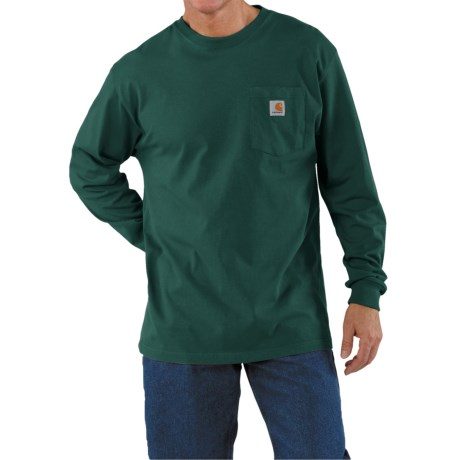 Carhartt Work Wear T-Shirt - Long Sleeve (For Men) in Hunter Green