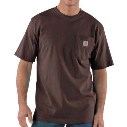 Carhartt Work Wear T-Shirt - Short Sleeve (For Tall Men) in Dark Brown - 2nds